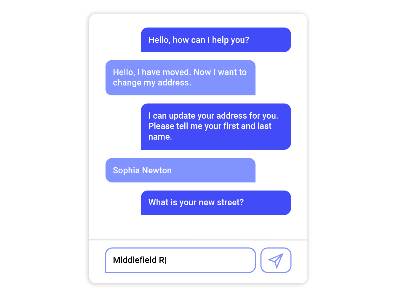 Screenshot OMQ Chatbot example chat and messenger